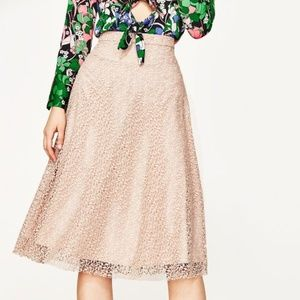 Zara Blush Pink Lace Midi Skirt S